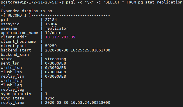 Checking if postgresql 12 cluster is in sync mode