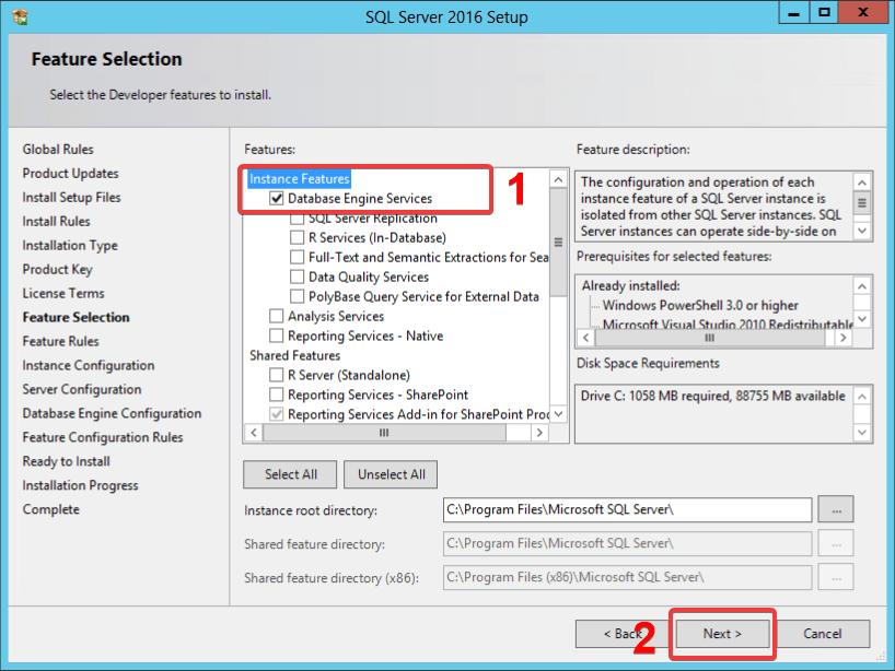 Sql Server Feature Selection window