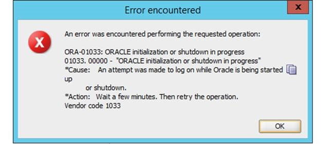How to resolve: ORA-01033 - ORACLE initialization or shutdown in progress