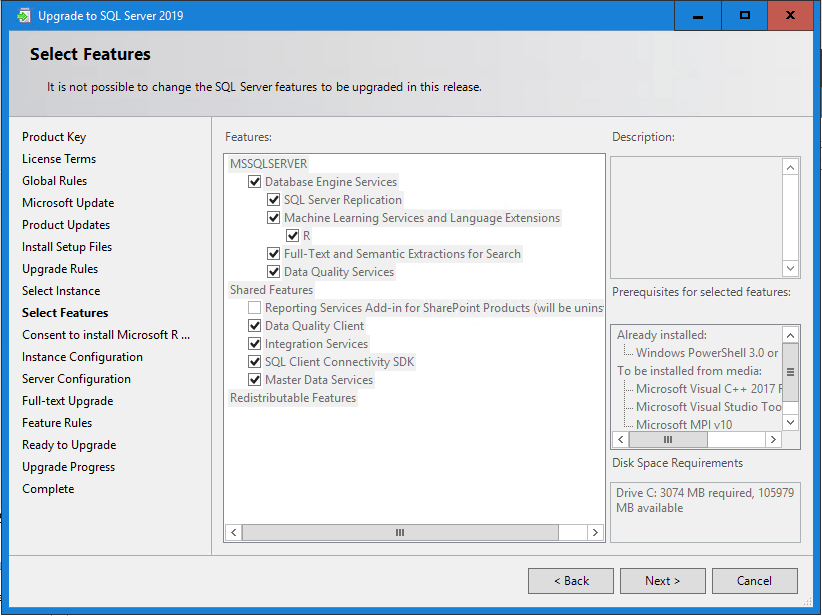 SQL Server 2019 selecting features to upgrade